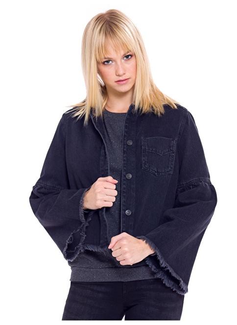 LC Waikiki Kolları Volanlı Jean Ceket Siyah